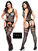 Baci Lingerie [ UK 8 - 14 ] Black Lace Garter Style Open Bodystocking (E29042)